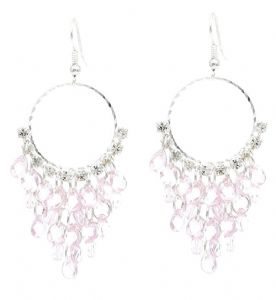 Pink Crystal Chandelier Hoop Earrings - Lightweight
